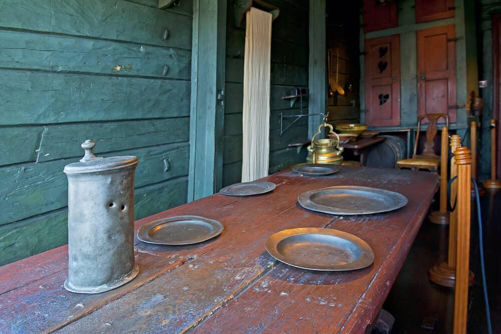 BERGEN, NORWAY - Dining room in Hanseatic Museum in Bergen, Norway