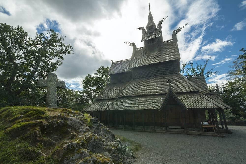 Fantoft Stave church, old wooden building in Bergen, Norway