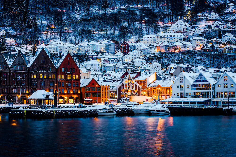 Panorama of historical buildings of Bergen at Christmas time. View of old wooden Hanseatic houses in Bergen
