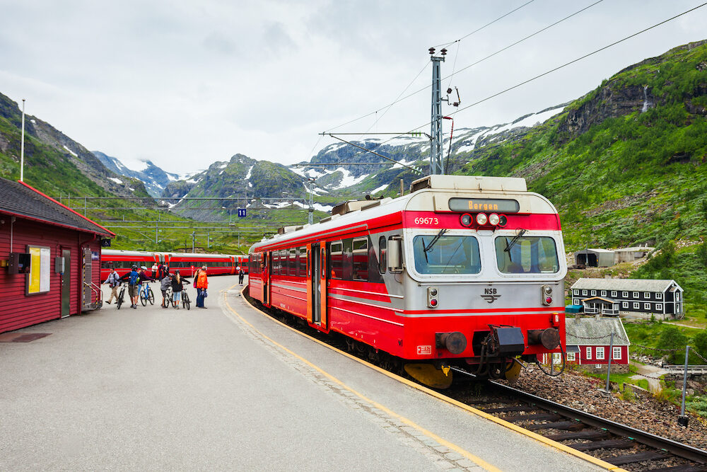 FLAM, NORWAY - Train at the Myrdal railway station before start to the Flam, Norway. Flam - Myrdal line is a very popular tourist attraction.