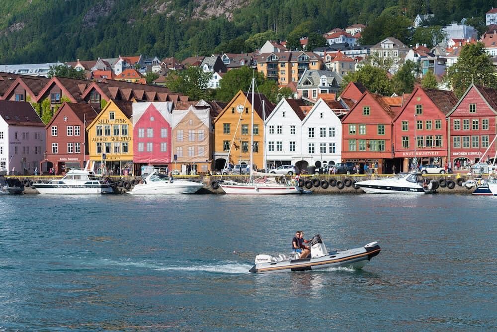 BERGEN, NORWAY - : View of historical buildings in Bryggen- Hanseatic wharf. Bryggen has been on the UNESCO World Heritage List since 1979.
