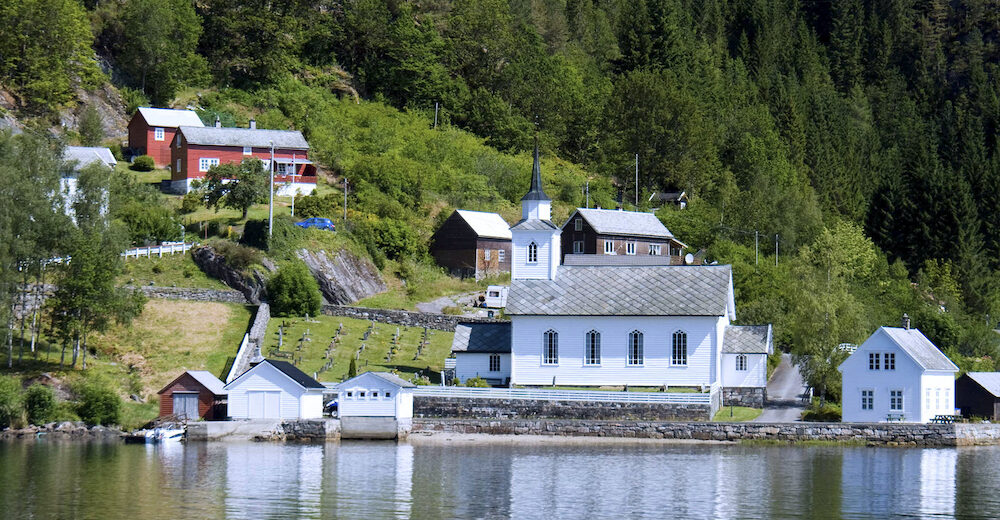 old church in Osterfjord Norway.Boat trip from Bergen city and return.