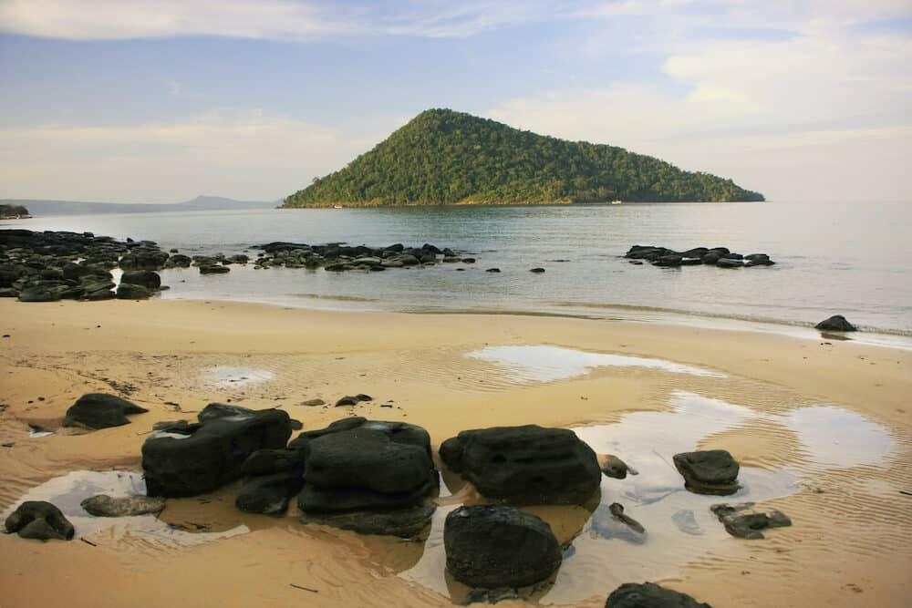 Koh Kon island seeing from Koh Rong Samlon island Gulf of Thailand Cambodia Southeast Asia
