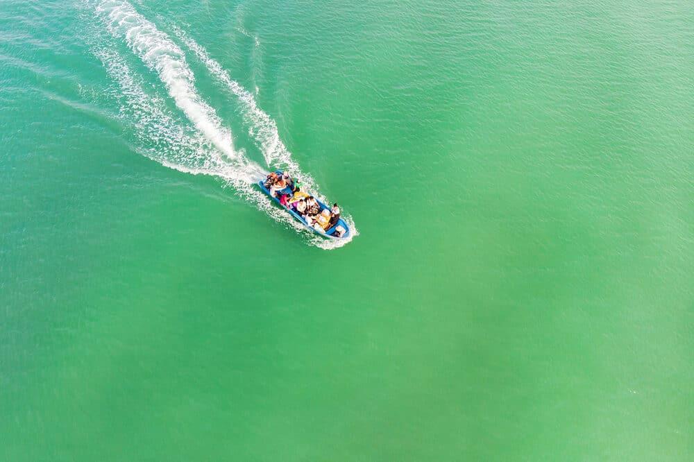 motor boat bring the tourist to island Koh Rong Samloem, Cambodia.