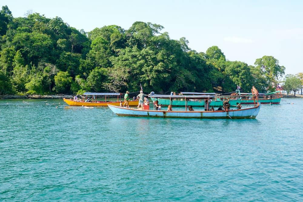 Koh Ta Kiev, Cambodia - tourists on boats at Koh Ta Kiev island in Cambodia