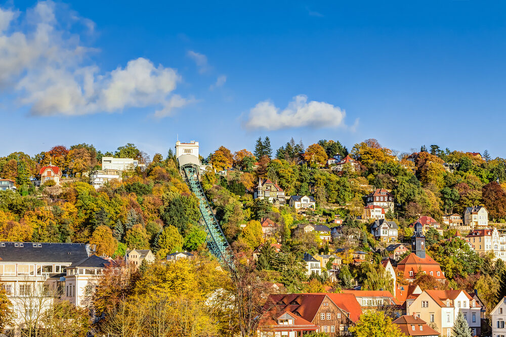Autumn season impression with the Dresden Suspension Railway