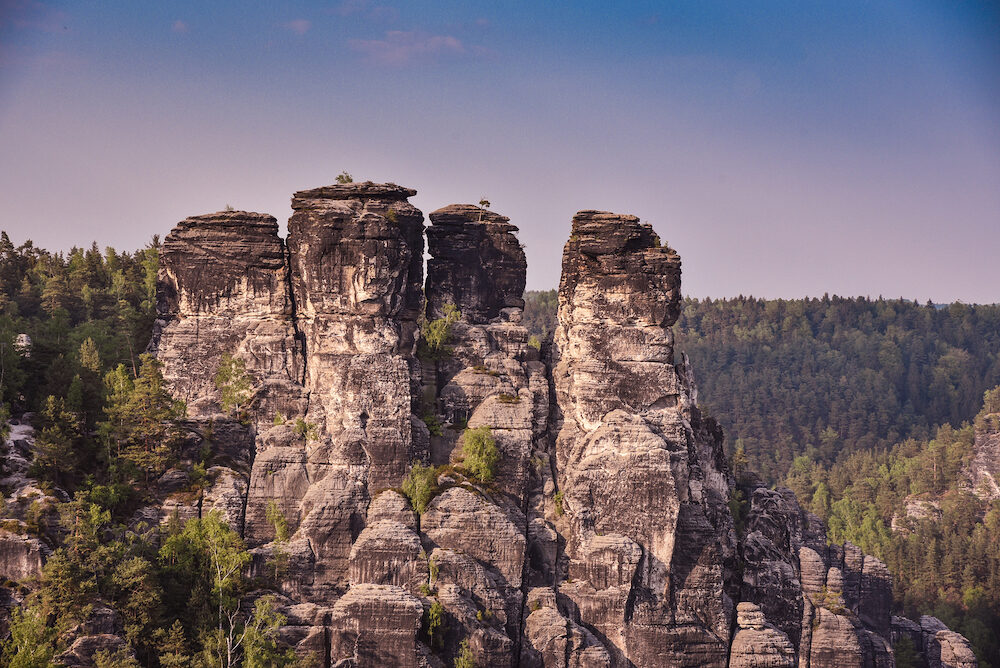 Bastei Rocks in Swiss Saxony, around the ruins of Neurathen Castle. Germany in summer