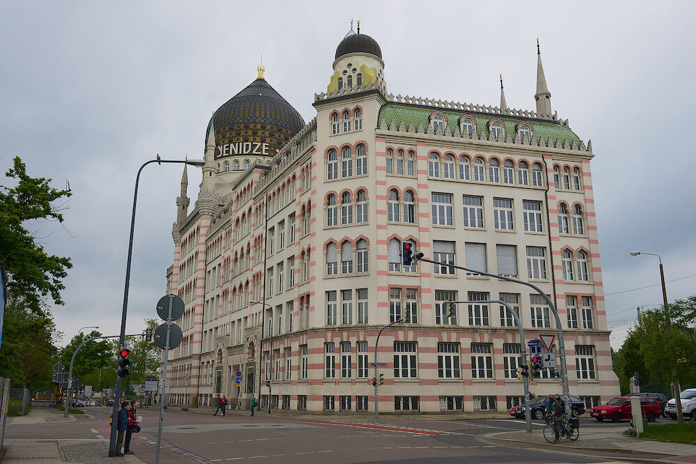 DRESDEN, GERMANY - Exterior of the Yenidze former tobacco factory built in a mosque style in Dresden, Germany.