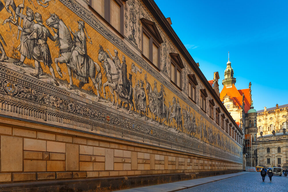 Georgentor and giant mural Furstenzug, Procession of Princes, in the city center of Old town, Dresden, Saxony, Germany