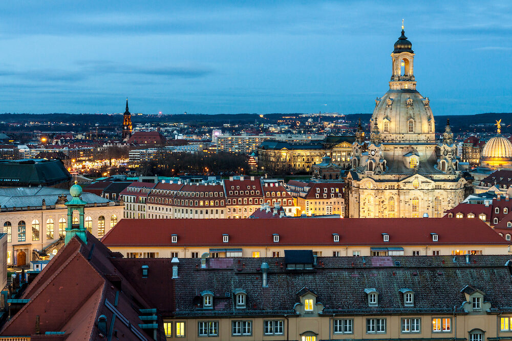 The historical Church Frauenkirche in Dresden old town