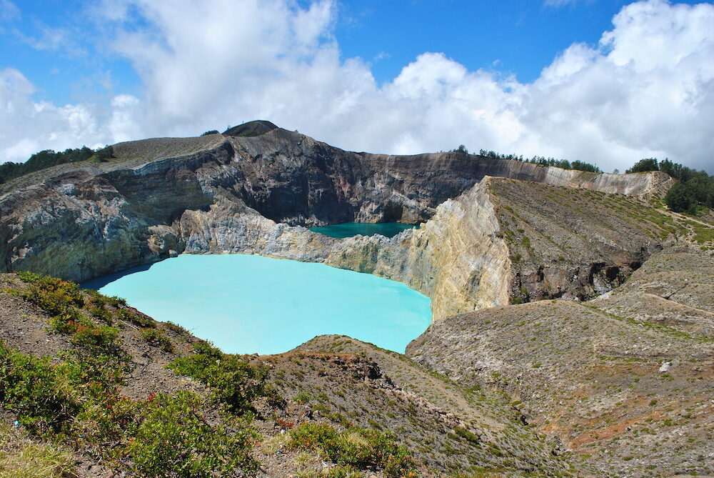 Crater lakes of stunning Kelimutu volcano in Flores in Indonesia