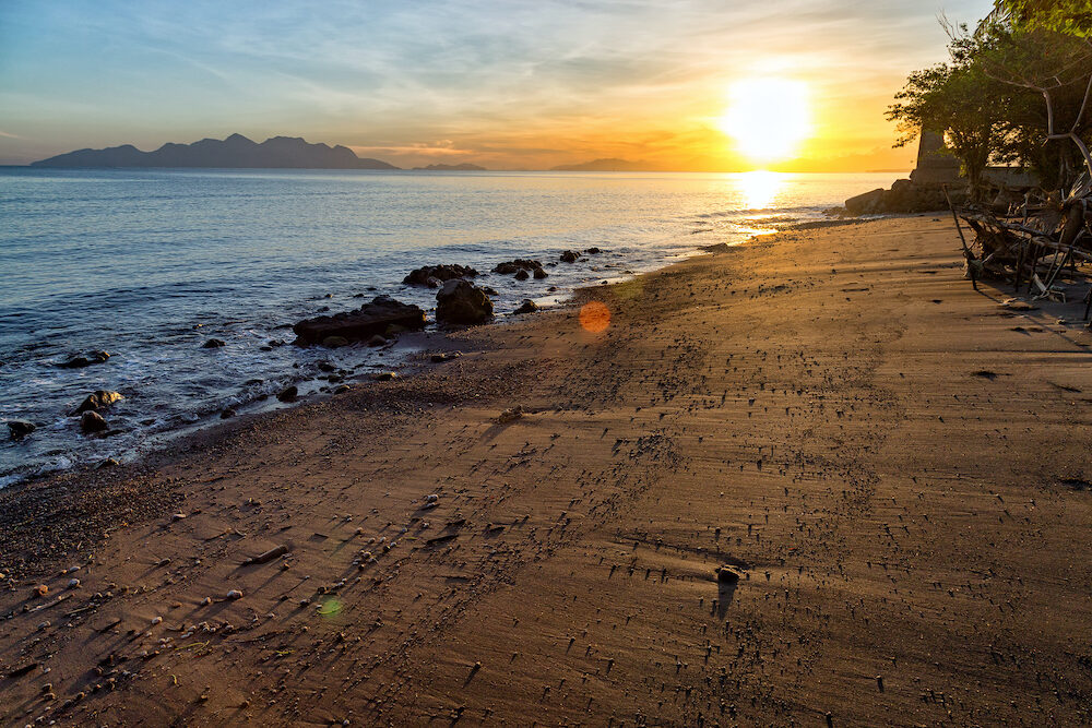 Sunrise on a beach in Maumere on the island of East Nusa Tenggara in Indonesia.