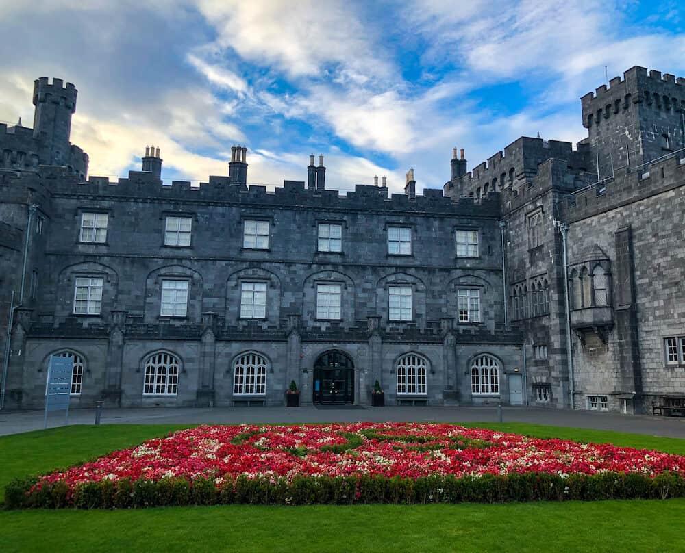 Front side of Kilkenny Castle in Kilkenny Ireland