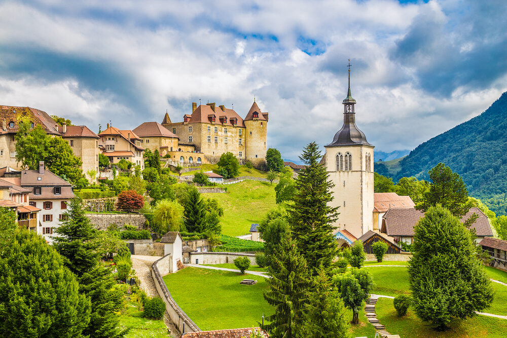 Beautiful view of the medieval town of Gruyeres home to the world-famous Le Gruyere cheese canton of Fribourg Switzerland