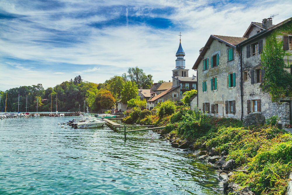 Yvoire medieval town overlooking the Geneva Lake, France