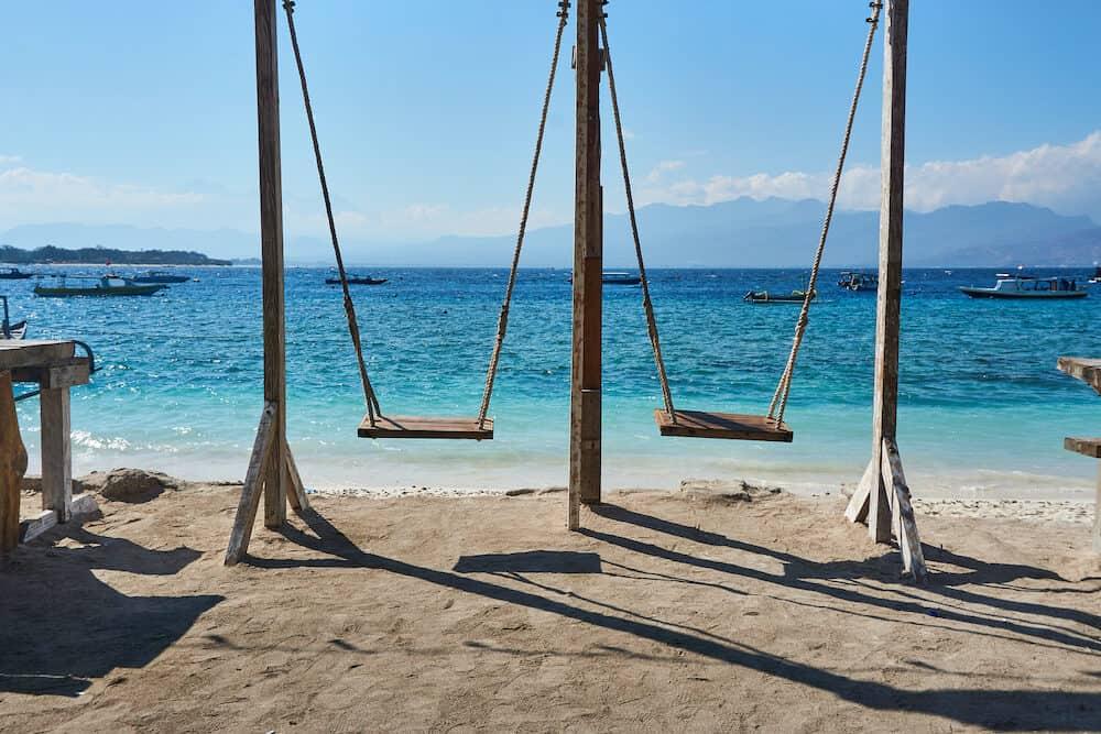 TRAWANGAN, INDONESIA : Swing at the beach on Gili trawangan.
