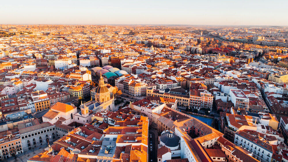 Aerial view of Madrid Royal Palace at sunset. Architecture and landmark of Madrid. Cityscape of Madrid,Popular tourist attraction