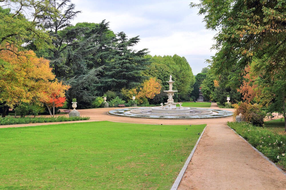 Autumn in Sabatini Gardens (Jardines de Sabatini) in Madrid, Spain.