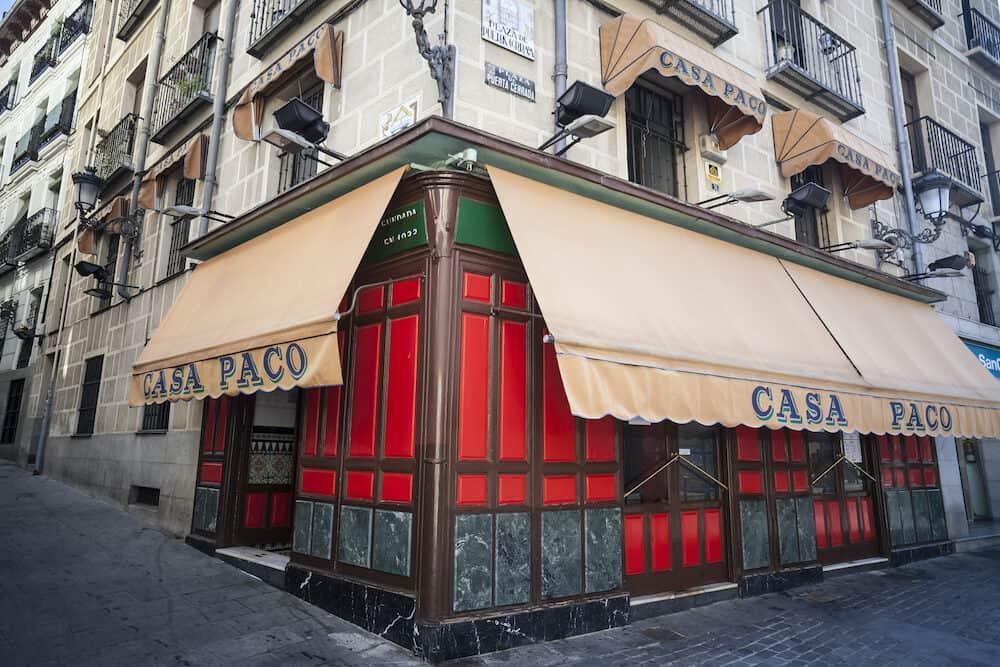 MADRID,SPAIN- Exterior facade building, restaurant, Casa Paco, since 1933, Madrid.