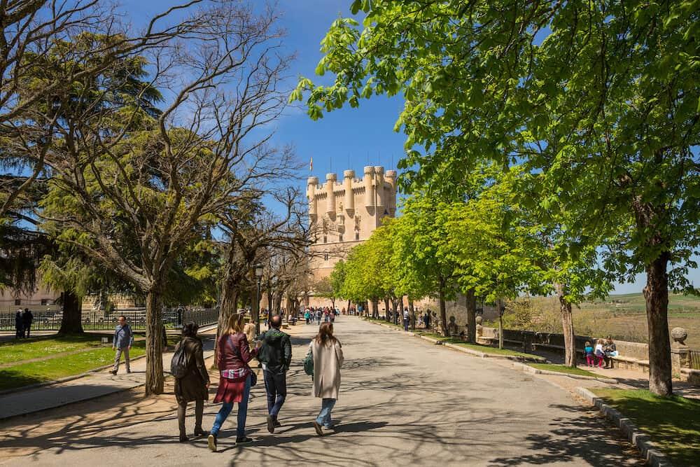 SEGOVIA, SPAIN - People visiting the Alcazar de Segovia Castle, Spain
