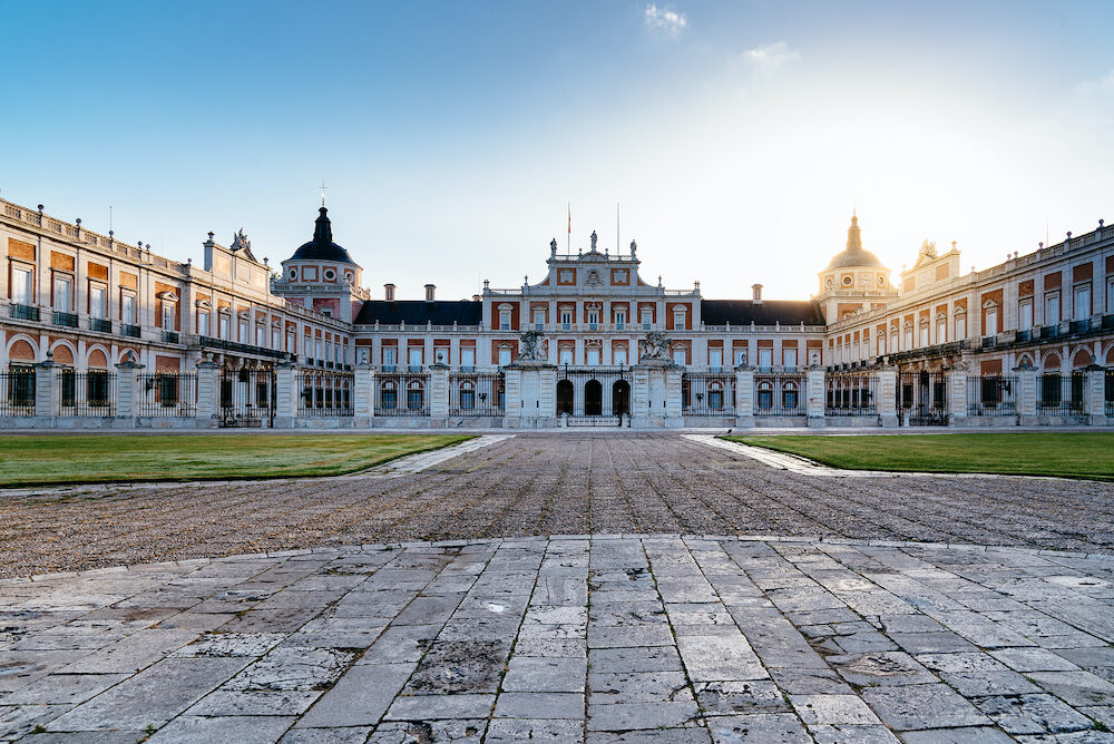 Aranjuez, Spain -: Royal Palace of Aranjuez at sunrise. It is a residence of the King of Spain open to the public.