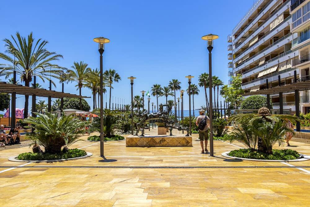 MARBELLA, SPAIN - : Avenida del Mar with Salvador Dali and Eduardo Soriano sculptures