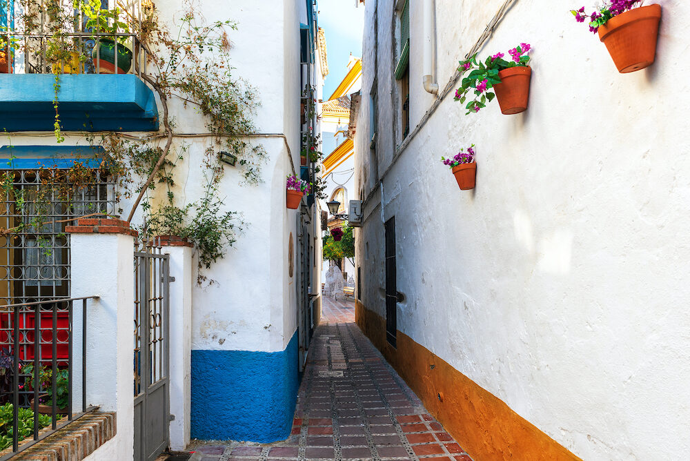 Narrow street of Marbella town with white walls decorated with flower pots