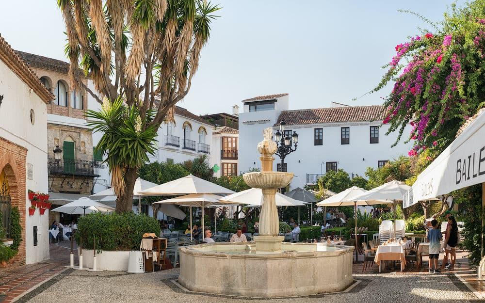 Marbella, Spain - Plaza Fernando Alcala in the old town of Marbella, Spain. The plaza dates from 1485.