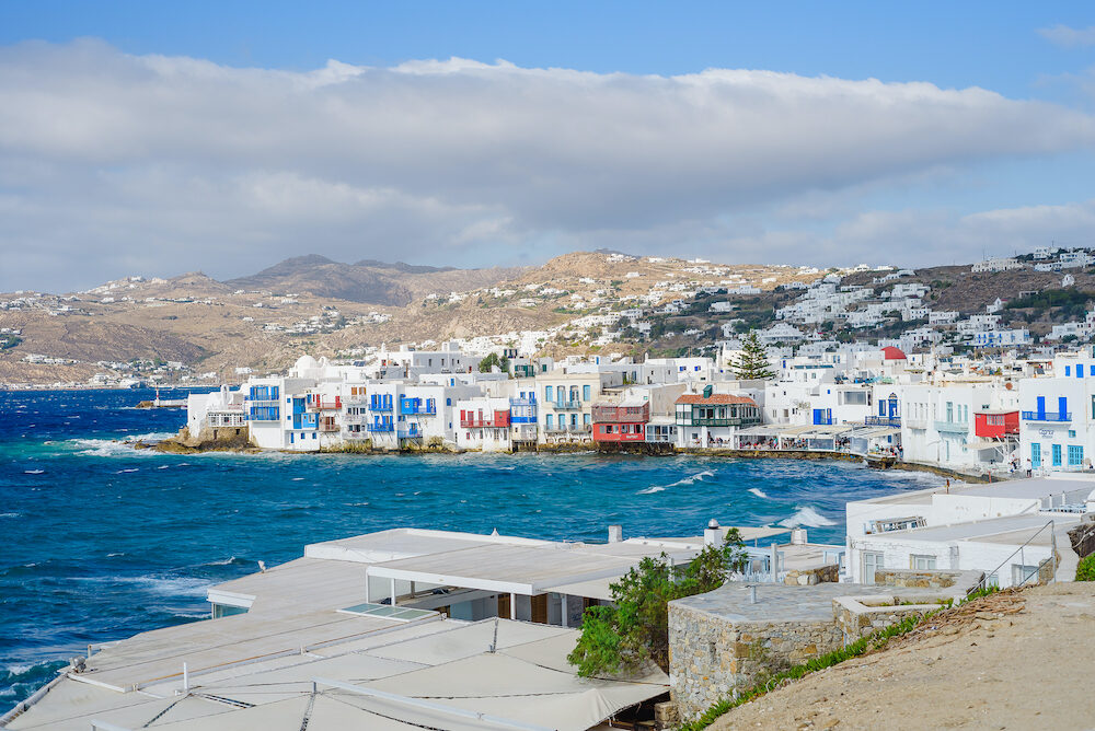 Little Venice at sunset and storm, Mykonos, Greece -