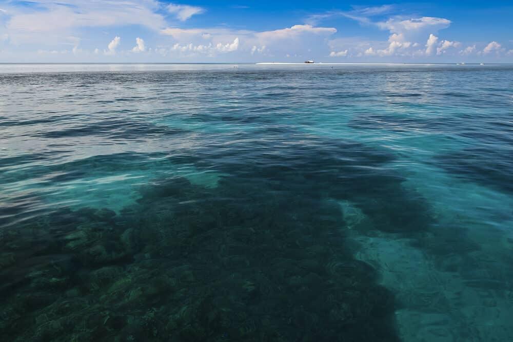 remote coast gaurd ranger station on tubbataha reef marine park in open ocean of sulu sea off palawan island in the philippines