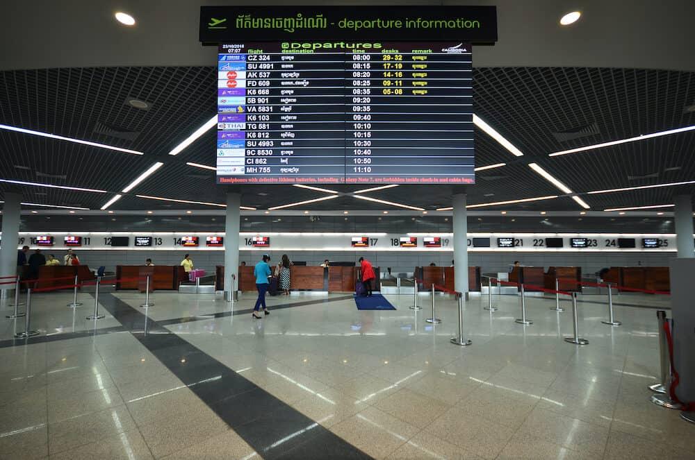 PHNOM PENH CAMBODIA Inside view of the airport in Phnom Penh Cambodia.