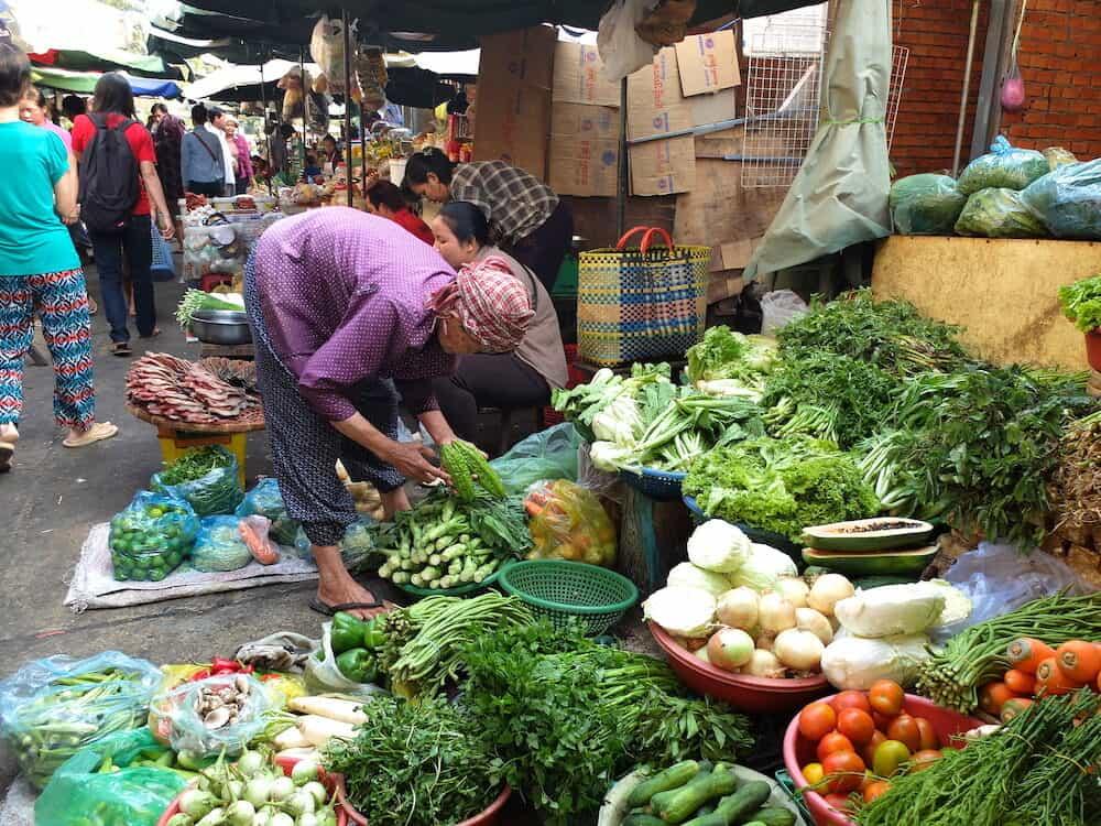 PHNOM PENH, CAMBODIA Psah Thom Thmey (Central market in Cambodian) morning market