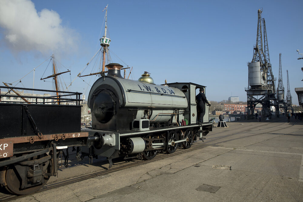 Bristol, UK, Portbury steam loco of the Bristol Harbour Railway on the Wapping Wharf at M Shed museum