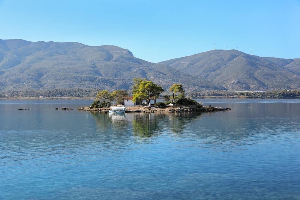 Summer time view on Eros island or Daskalio near Poros, Greece. Horizontal.