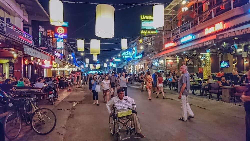 Siemreap/Cambodia - City Night light of Pub street in Siem reap cambodia