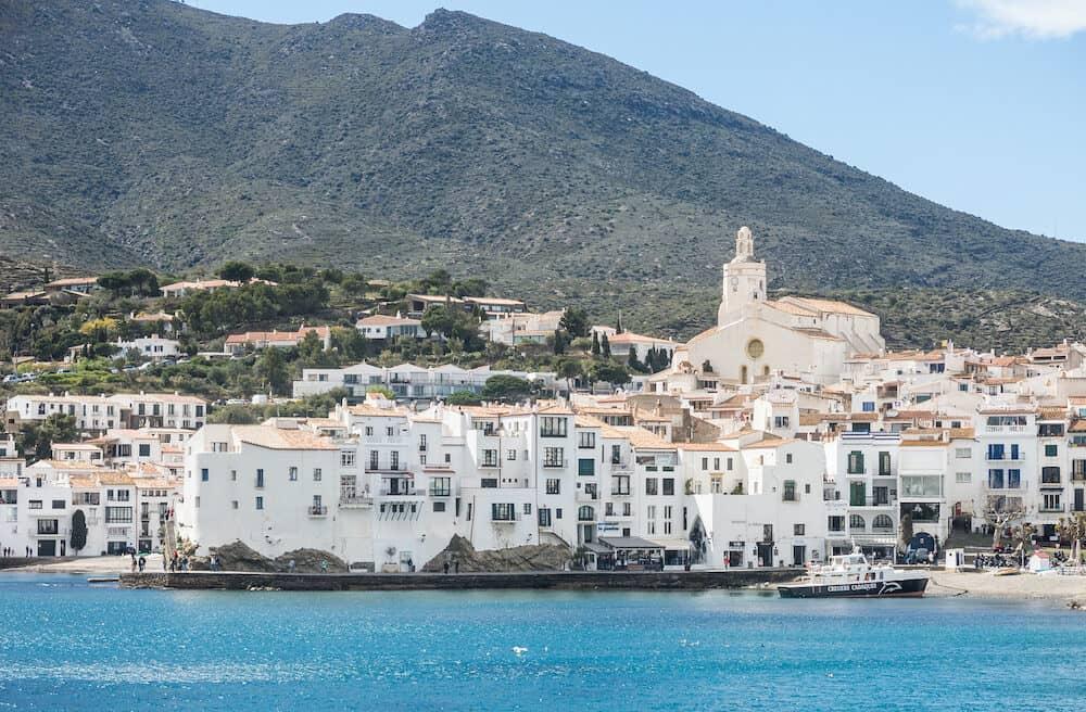 CADAQUES, SPAIN - Spain Mediterranean village of Cadaques, whitewashed houses and the church Santa Maria, Costa Brava, Alt Emporda, Catalonia, Cap de Creus