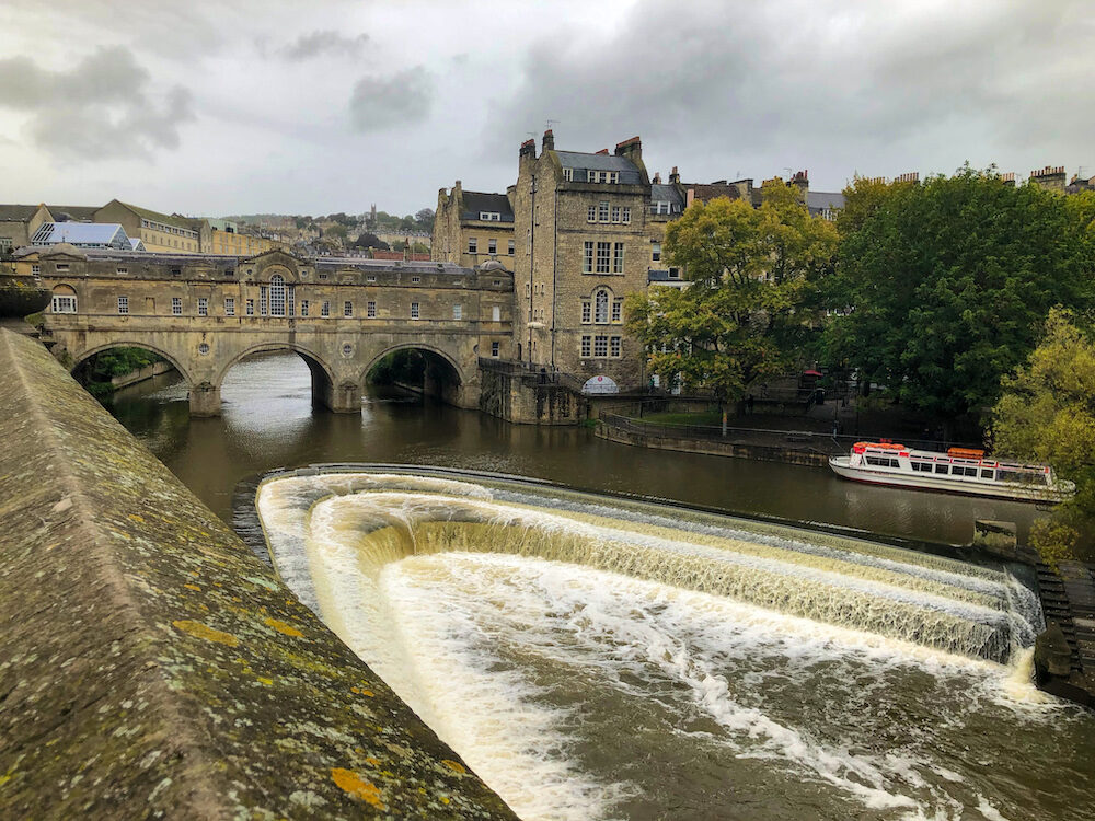 The Weir Pulteney is located down from the Pulteney Bridge