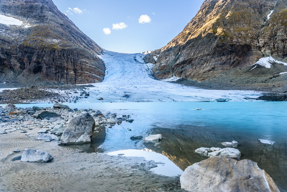 Melting Steindalsbreen Glacier in North Norway in The Lyngen Alps near The Tromso City - tourist attractions in Scandinavia