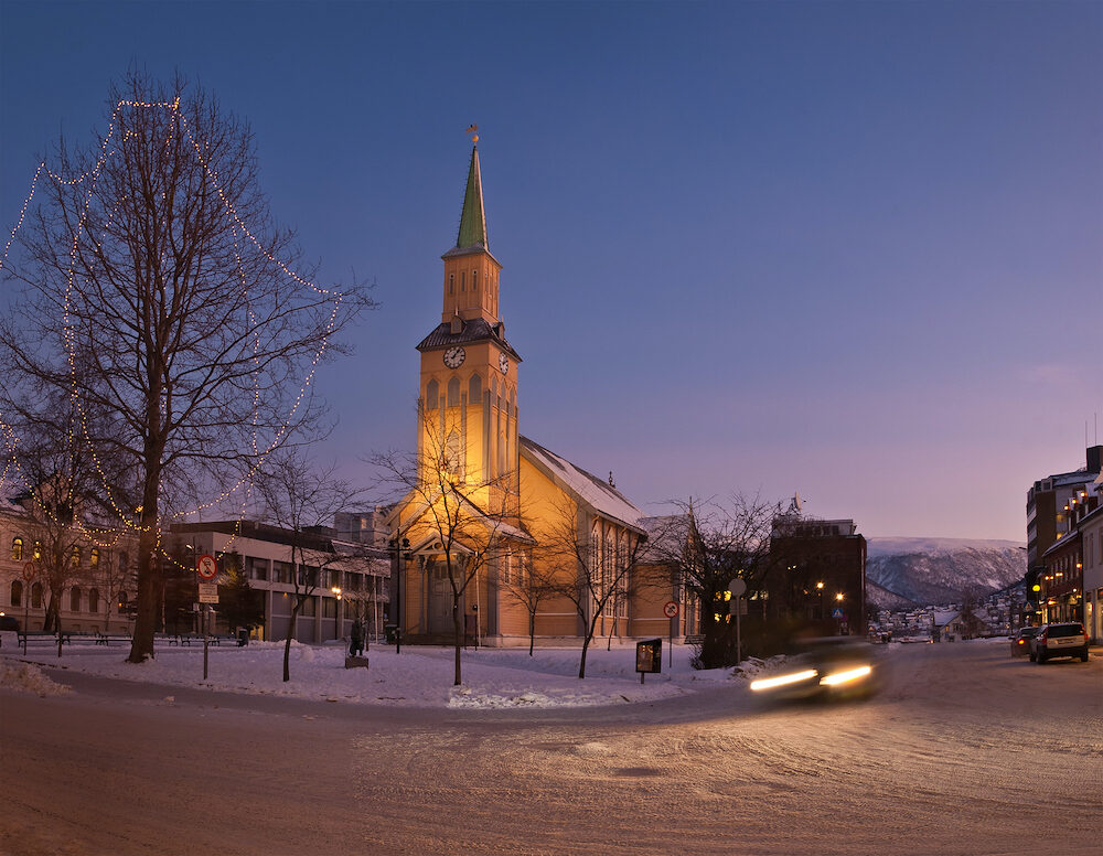 The Tromso Cathedral made of wood. Tromso domkirke. Norway
