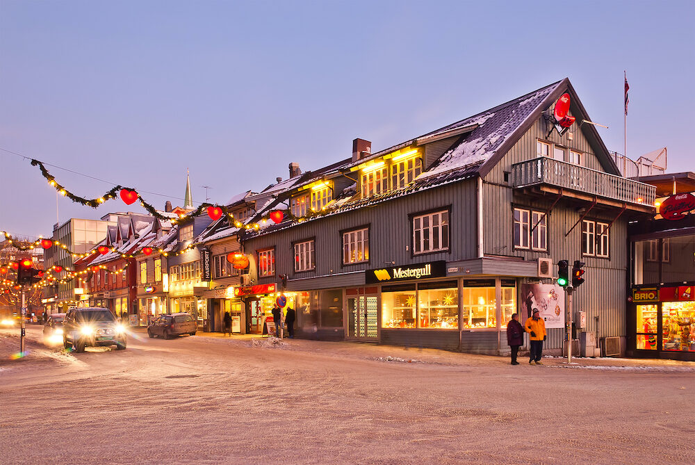 Tromso city street. Christmas street of Tromso city. Norway,