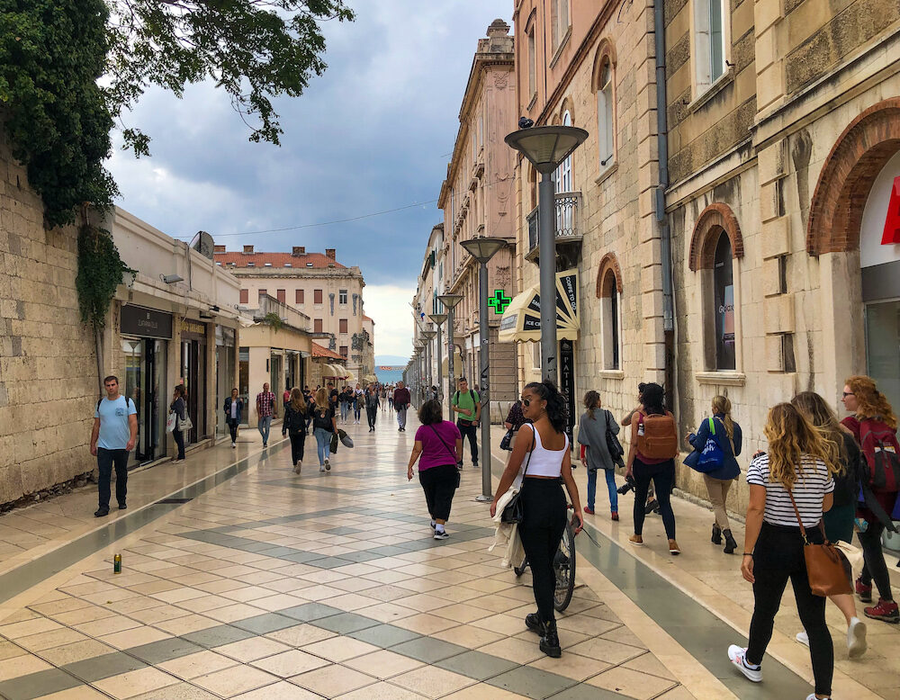 Walking through tourist area in Split Croatia