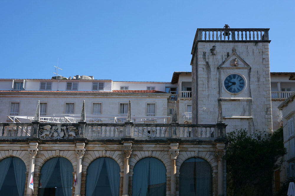 Hvar town loggia and a clock tower from the 15th century (the only remains of the former Governor's Palace)
