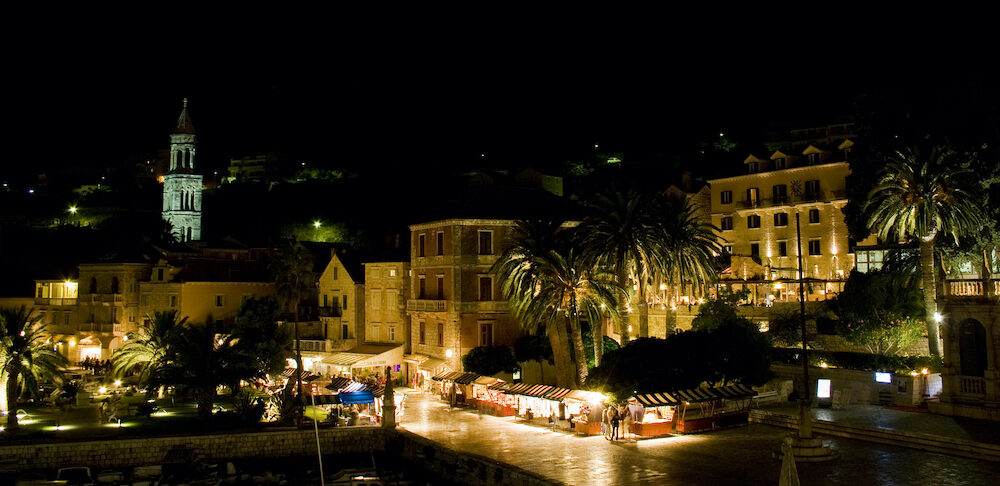 Night photography of Hvar island in Croatia. Beautiful view on the town.