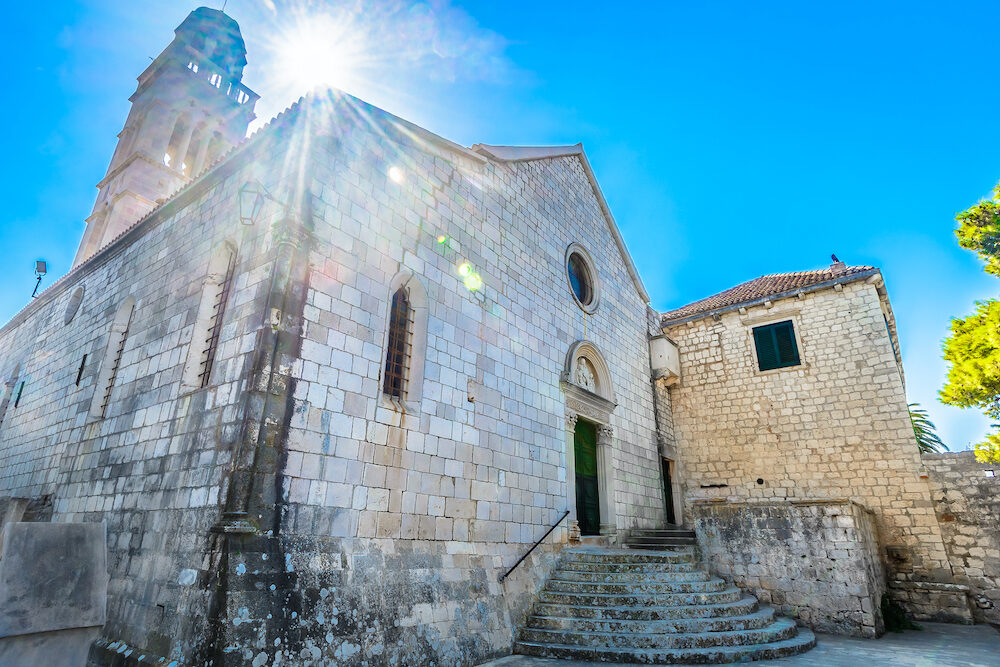 View at old monastery in town Hvar, popular tourist landmark in Croatia, Europe.