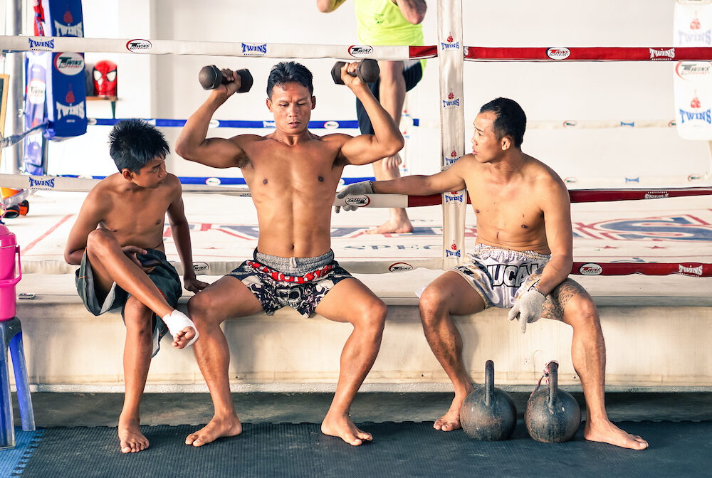 PHUKET THAILAND - unidentified kick boxing athletes in unidentified Muay thai boxe and martial arts training camp in Patong Phuket Thailand.