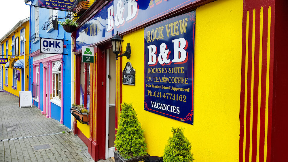 KINSALE, CORK, IRELAND - Colorful houses in Kinsale. The historic streetscape is a famous holiday destination.