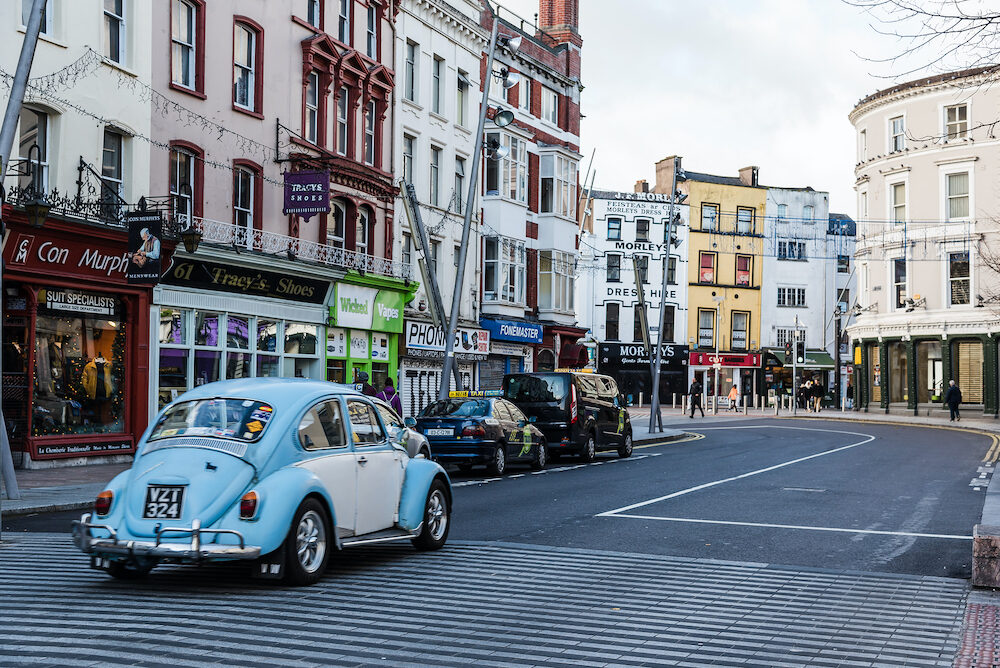 Cork, Ireland - : St Patrick Street in Cork. It is the main shopping street in the city
