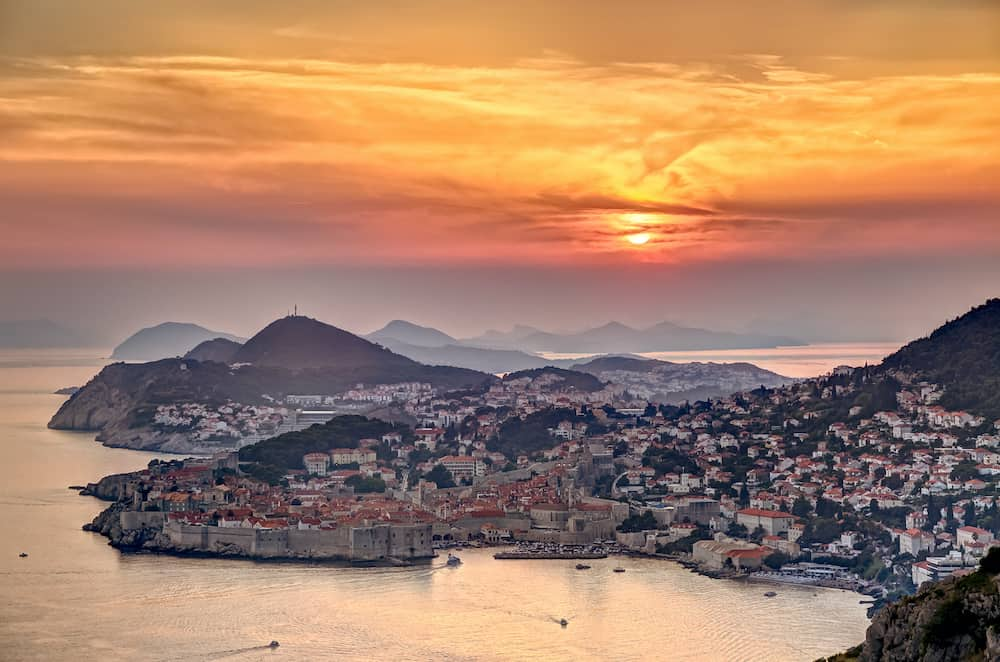 Dubrovnik in sunset light, panorama from the hill.