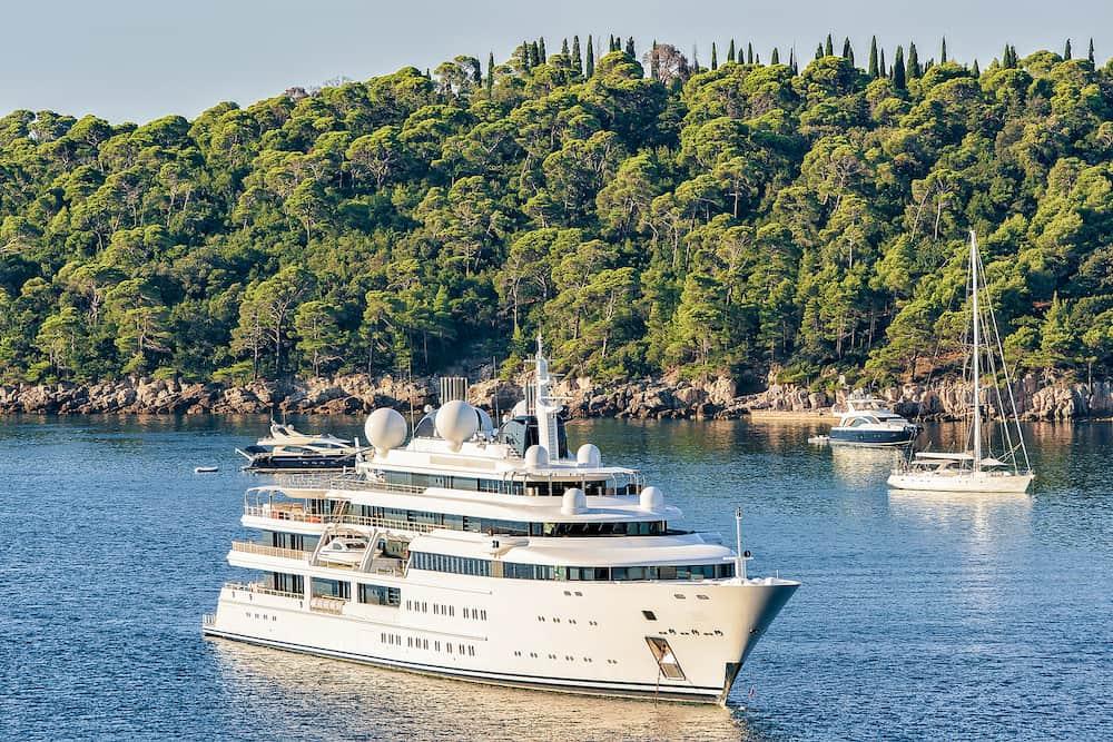 Luxury yachts at Lokrum Island in Adriatic Sea Dubrovnik Dalmatia Croatia