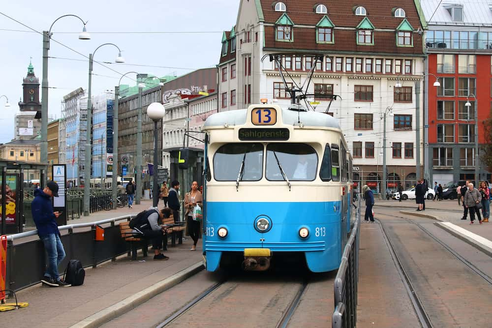 GOTHENBURG, SWEDEN : Blue tram in Gothenburg, Sweden. Gothenburg has largest tram network in Sweden with 160 km of single track.